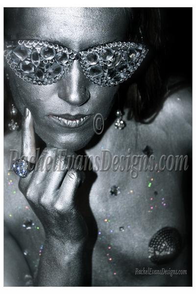 Body painting, grey and glitter, photo shoot done completely by me in Hamburg 2013