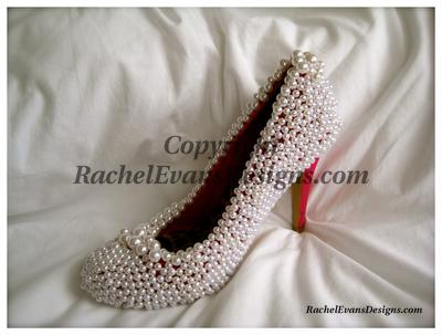 Pearl shoes with pink heels