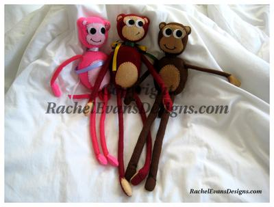 Pink, red and brown monkies