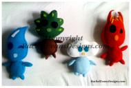 All four elemental handmade stuffed