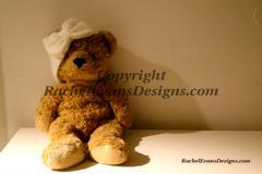 Stock Photo Teddy bear sitting with white bow