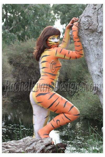 Body painting, an orange tiger