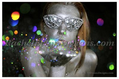 Body painting, grey girl blowing glitter, photo shoot done completly by me in Hamburg 2013